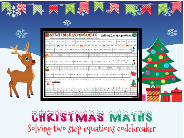 Christmas maths: solving 2 step equations codebreaker