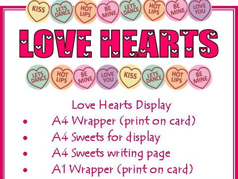 Love Heart Display Wrapper & Sweets