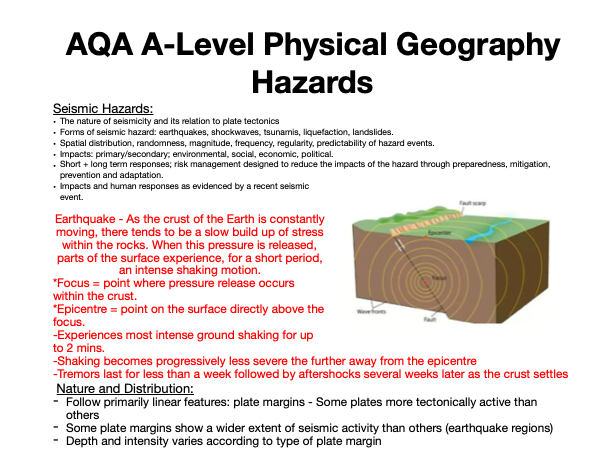 AQA A Level Geography: Hazards - Seismic Hazards