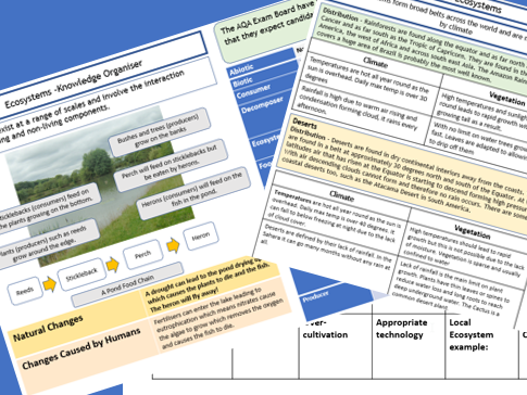 AQA GCSE 9-1: Living World Knowledge Organisers and Revision Summaries