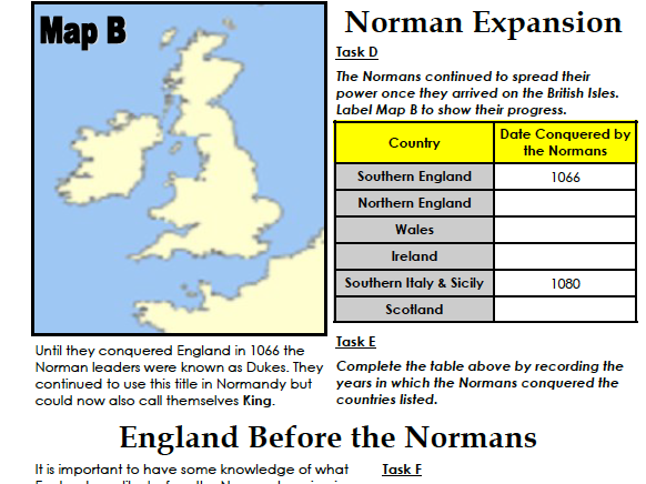 Who were the Normans? (pupil workbook) LOWER ABILITY