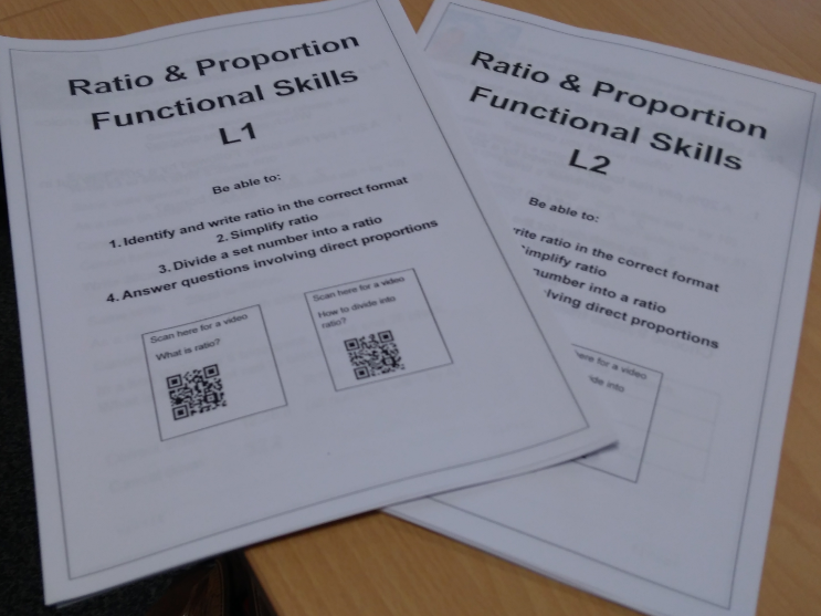 Functional Skills Maths Ratio and Proportion L1 & L2 Work Packs with answers.