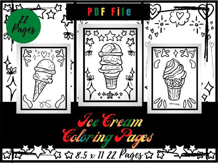 Ice Cream Colouring Pages For Kids, Frozen Dessert Colouring Sheets PDF