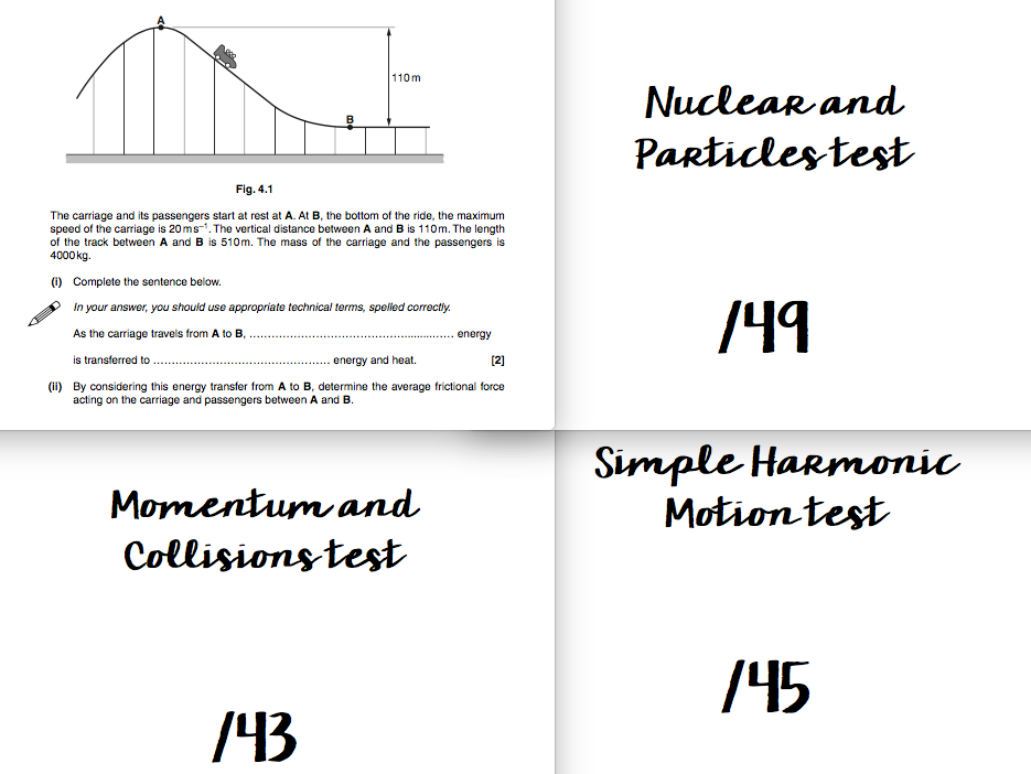 OCR KS5 A level Physics test bundle