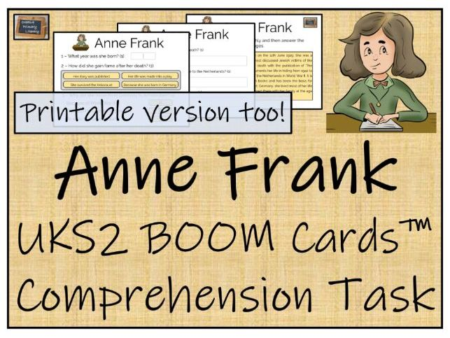 Anne Frank - UKS2 BOOM Cards™ Comprehension Activity