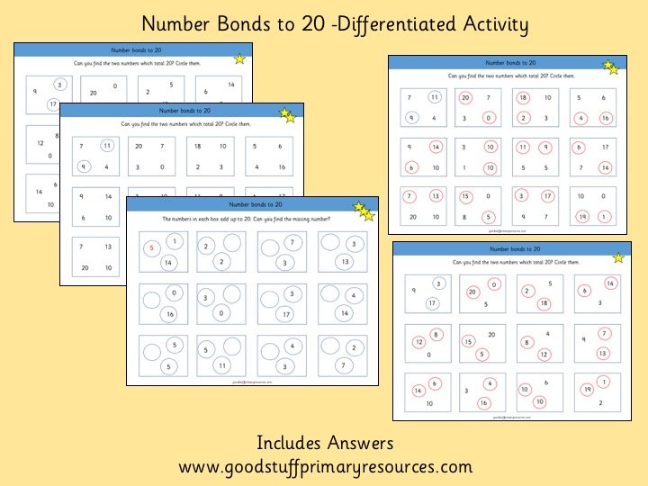 Number Bonds to 20- Differentiated Activity