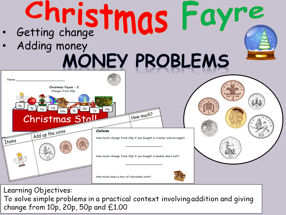 Christmas-Themed - Money Problem Worksheets - Addition and ...