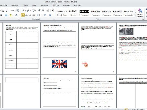 BTEC L3 HSC Unit 10 Sociological Perspective Worksheet Bundle for whole unit
