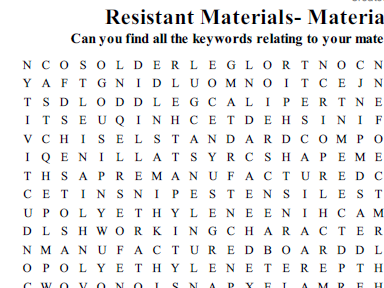 Resistant Materials Wordsearch