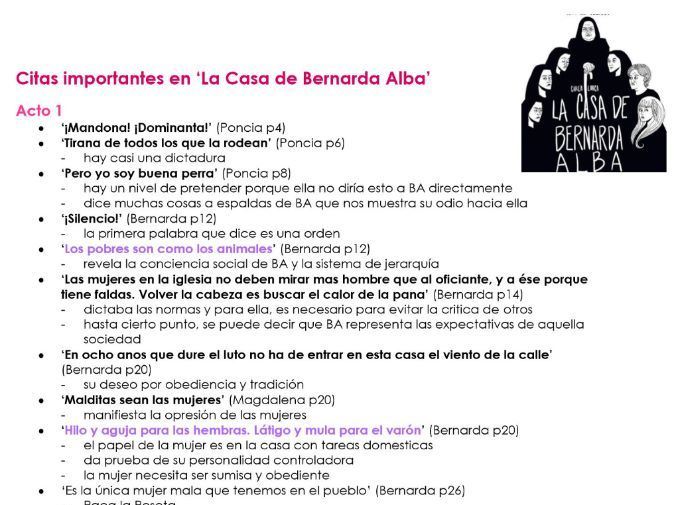 KEY QUOTES + Analysis for 'La Casa de Bernarda Alba' AQA A2 Spanish 7692