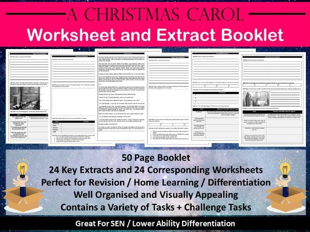 A Christmas Carol Extract and Worksheet Booklet