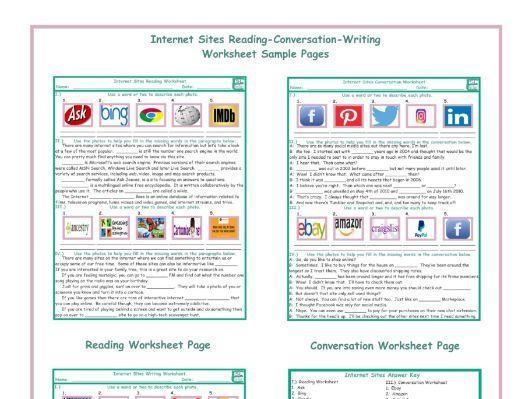 Internet Sites Reading-Conversation-Writing Worksheets