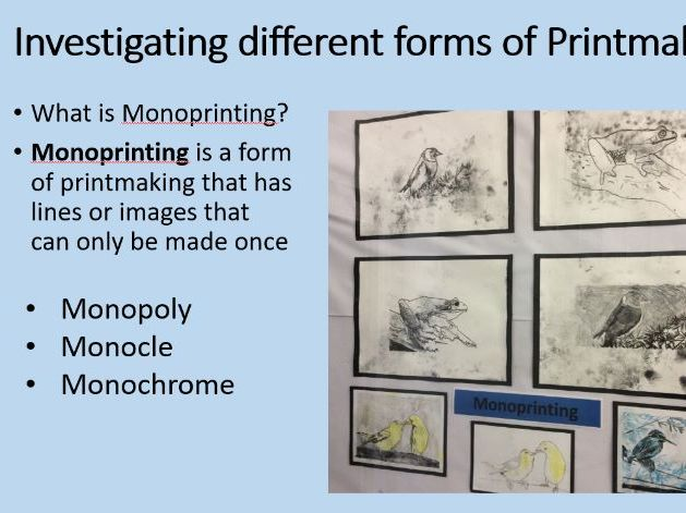 Lesson on printing, comparing differences between mono and block printing.