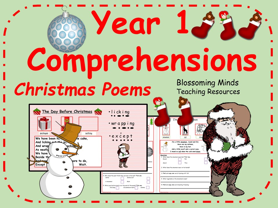Year 1 Christmas poetry comprehensions
