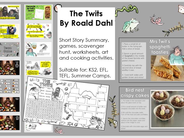 The Twits  simplified story,  activities, cooking and worksheets for KS2, EFL, TEFL, Summer camp