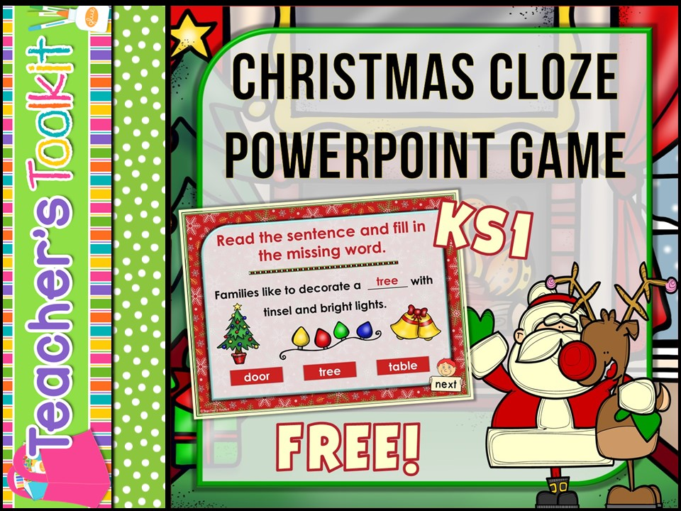 {Free} Christmas: Christmas Cloze Interactive Fun Powerpoint Game