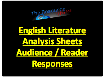 Literature Analysis Sheets Audience / Reader Response