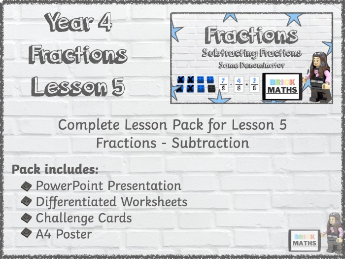 Y4 Fractions Lesson 5 - Subtraction - Year 4