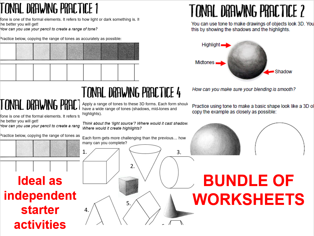 KS3 FORMAL ELEMENTS WORKSHEETS BUNDLE