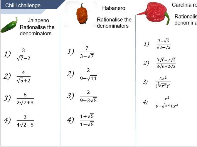 Conjugate rationalising the denominator lesson