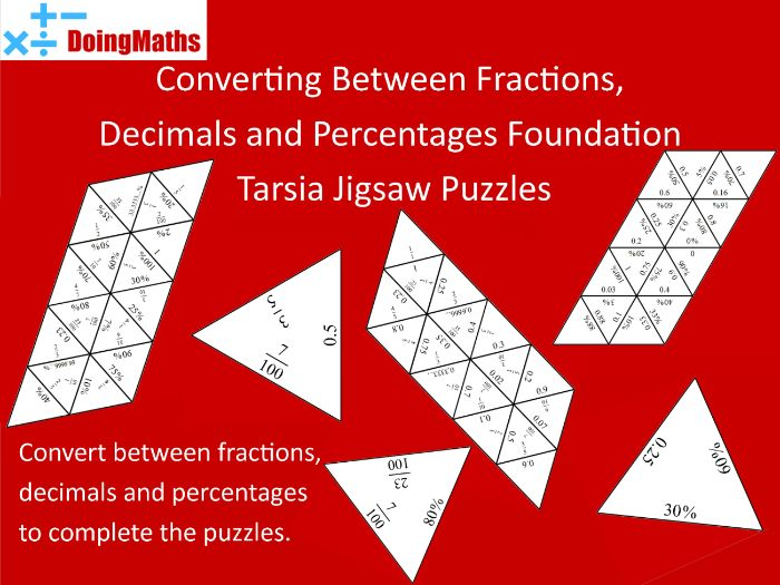 Converting between fractions, decimals and percentages foundation match-up jigsaw puzzles
