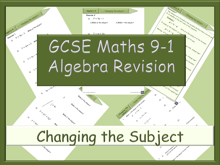 GCSE Algebra Revision 9-1 - Changing the Subject