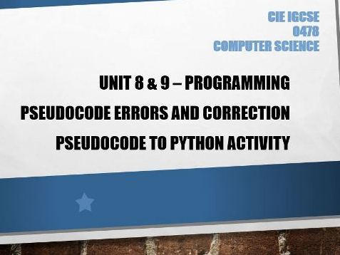 GCSE Pseudocode algorithm error correction and Pseudocode to Python