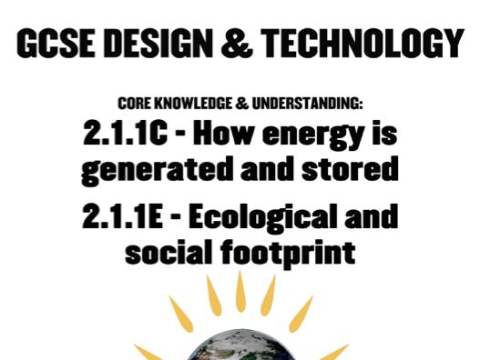 GCSE Design & Technology 211 C&E Energy & Footprints Whole Package Presentation & Workbook New Specification