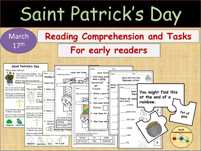 St Patricks Day Reading Comprehension Activities Puzzles Early Readers