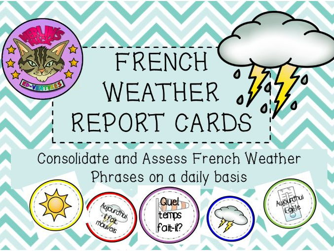 French Daily Weather Report Cards