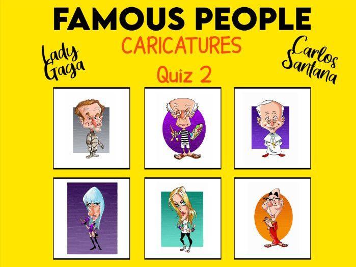 Famous People Cartoon Caricatures Quiz KS2+ Set 2