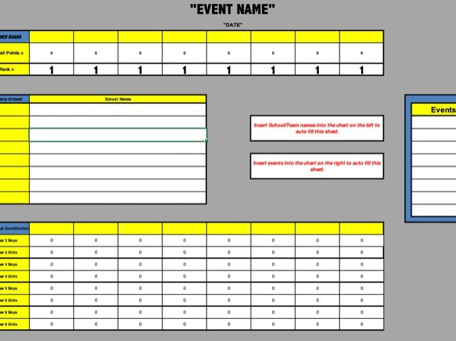 Sports Events Scoring System - Primary & Secondary