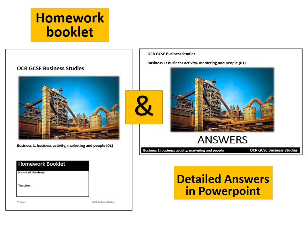 GCSE Business (9-1) Homework activities and ANSWER booklet