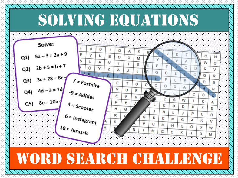 💡 Solving Equations with Unknowns on Both Sides Word Search 🔎