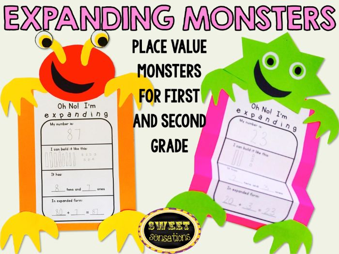 Place Value Monsters for Year 2,3 and 4