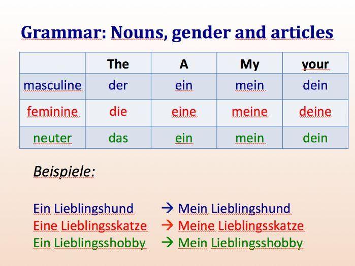 Lieblingssachen and the use of mein/meine/dein/deine