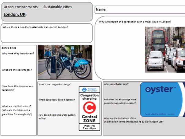 Urban environments case study revision sheets - AQA, OCR and EdExcel with notes!