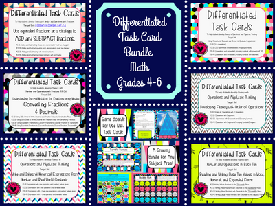 Differentiated Task Card Bundle for 4th, 5th or 6th Grade Math