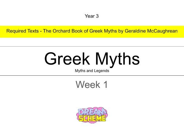 Year 3 - This presentation includes 5 whole lessons relating to Greek Myths. Week 1 of 3.