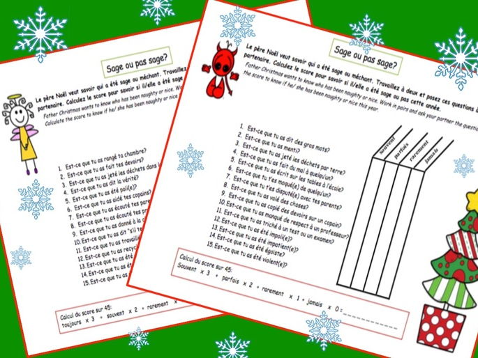 "Christmas -  Noel FUN Oral work ""Kindometer"" [EDITABLE]"