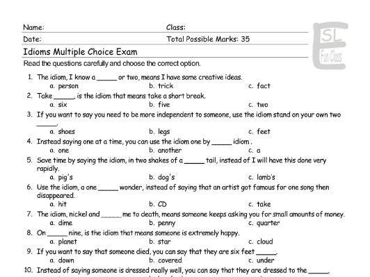 Idioms Multiple Choice Exam