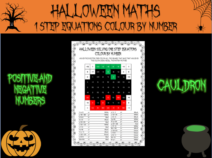 Halloween Maths: solving one step equations colour by number
