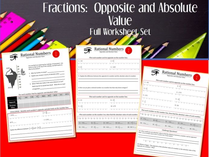 Fractions:  Opposites and Absolute Value --Full Worksheet Set