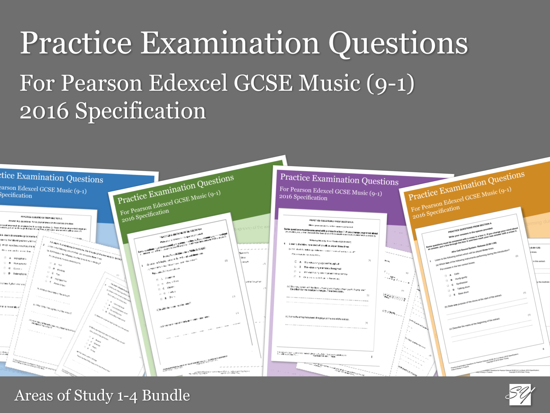 Practice Listening Questions Bundle for Pearson Edexcel GCSE Music (2016 Specification) - Areas of Study 1-4 Bundle