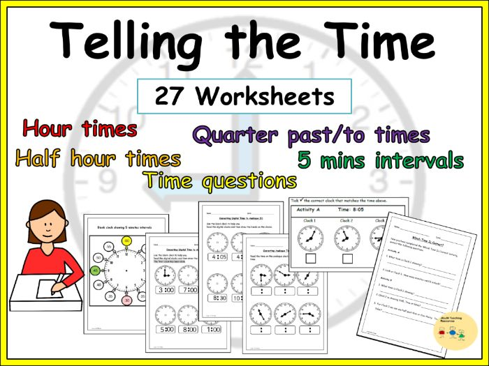 Telling the Time Worksheets - Digital/Analogue Clock Times, Time Questions