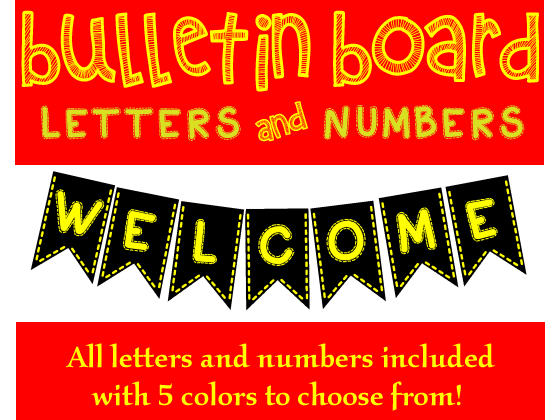 Bulletin Board Bunting Letters and Numbers