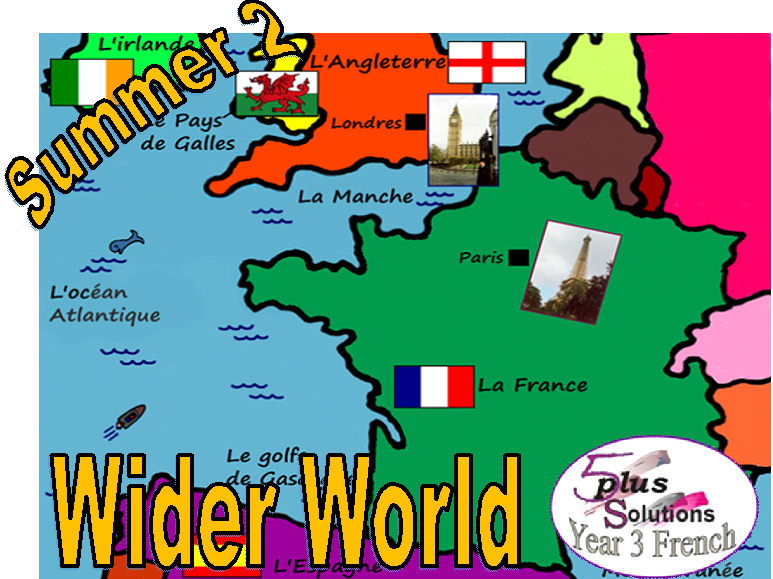 Primary French WHOLE LESSON:Leçon 1: To name some countries and capitals (Year 3 Wider World)
