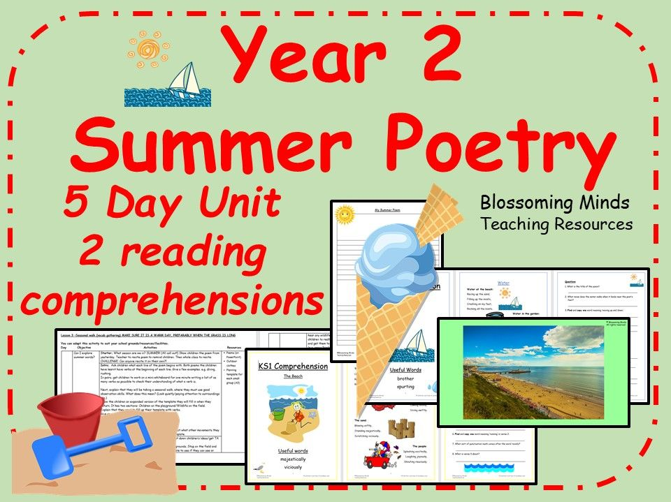 Summer poetry unit and comprehensions - year 2
