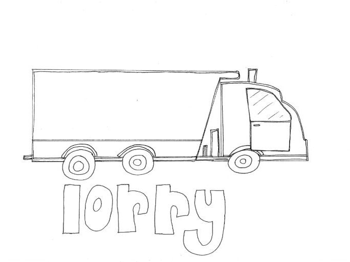 Lorry: Transport and Travel: Colouring Page
