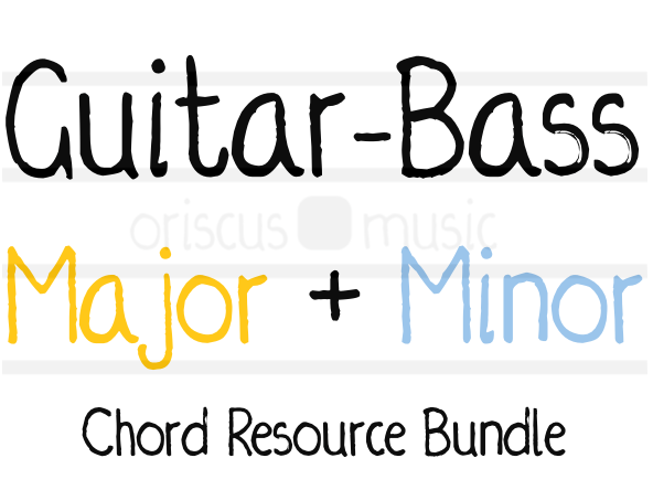 Guitar-Bass Major + Minor Key Chord Cards Bundle